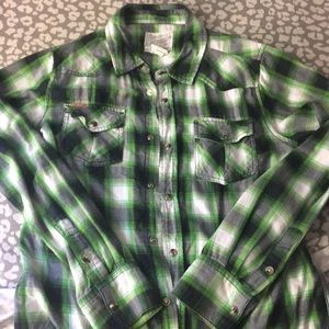 Green white and black flannel shirt